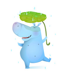 Happy hippo kid playing in rain smiling vector