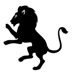 Heraldic lion silhouette icon vector