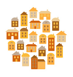 houses round pattern home icons vector image