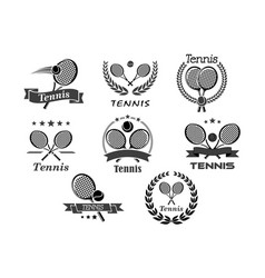icons for tennis sport club vector image vector image