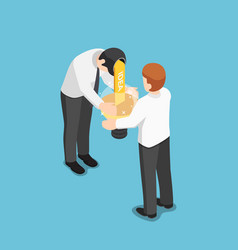 isometric businessman share idea to his friend vector image