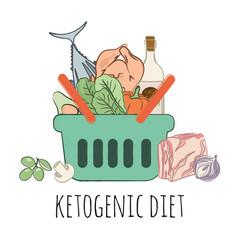 Keto food basket healthy food nutrition ill vector