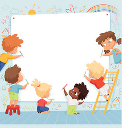 Kids frame cute characters childrens painting vector