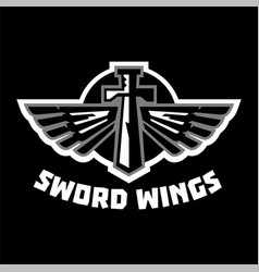 logo sword wings steel arms the emblem on the vector image vector image