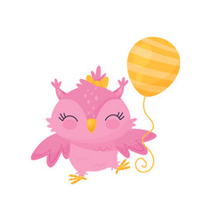 lovely pink owlet with balloon cute bird cartoon vector image