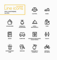 Mall wayfinding - modern single line icons vector