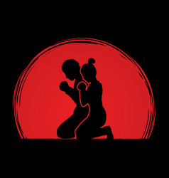 Man and woman prayer graphic vector