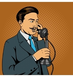 man talking on vintage phone vector image