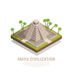 Mayan pyramid isometric composition vector
