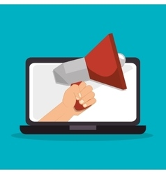megaphone laptop social media isolated icon design vector image