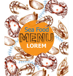 menu card template crab mussels seafood vector image
