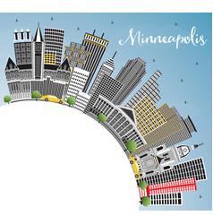 Minneapolis minnesota skyline with color vector