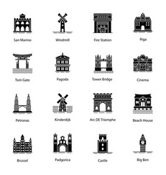 Monuments glyph icons pack vector