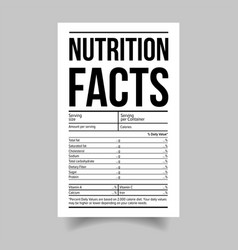 Nutrition facts food label sticker vector