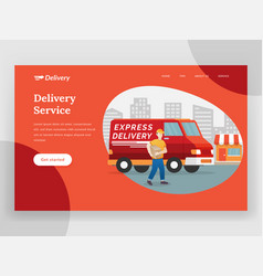 online delivery service landing page with van vector image