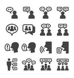 people talking icon set vector image