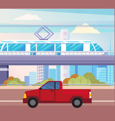 pickup on city road electric train above ground vector image