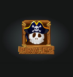pirate skull icon in frame for game vector image