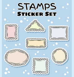 Post stamp stickers set colorful label doodles vector