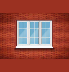 pvc big window in brick wall vector image