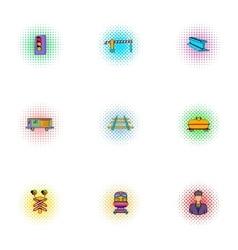 Railway transport icons set pop-art style vector image