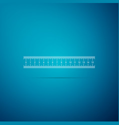 Ruler icon on blue background straightedge symbol vector