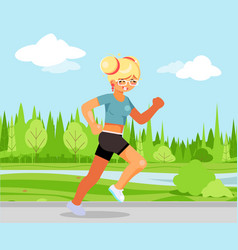 run outdoor park nature cute female girl running vector image