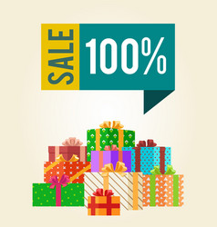 sale save 100 push buttons promo labels box gifts vector image