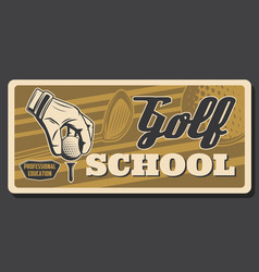 school golf hand puts ball on tee and stick vector image