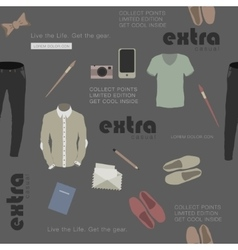 seamless stylish clothes and attributes hipster vector image