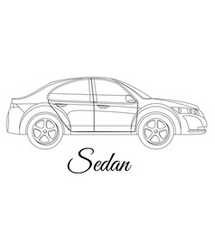 Sedan saloon car body type outline vector