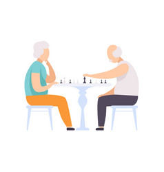 senior couple characters playing chess elderly vector image