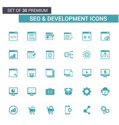 seo and developement blue icons vector image