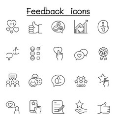 set customer feedback line icons contains vector image