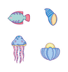 set fish with jellyfish and snail with oyster vector image