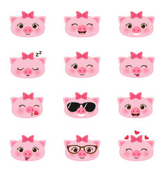 set of happy pigs emojis vector image