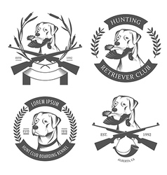 Set of hunting retriever logos labels and badges vector