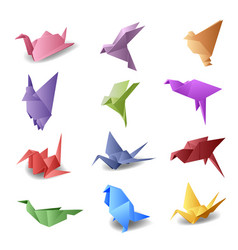 set with origami birds vector image