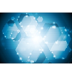 Shiny sparkling tech hexagons background vector