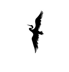 sign silhouette heron vector image