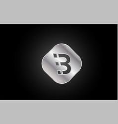 Silver metal b grey letter icon alphabet logo vector