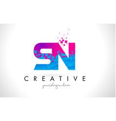 Sn s n letter logo with shattered broken blue vector