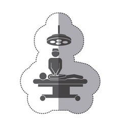 Sticker monochrome pictogram patient in surgery vector