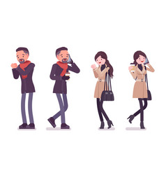 stylish man and woman in autumn clothes vector image
