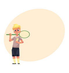 Teenage caucasian boy halding badminton racket and vector