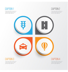 Transport icons set collection of way cab vector