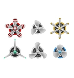 Turbines icons aircraft propeller vector
