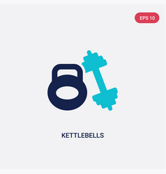Two color kettlebells icon from gym equipment vector