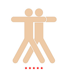 two people embracing icon different color vector image