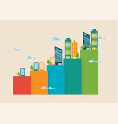 urban growth bar chart vector image